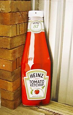 """Heinz Tomato Ketchup Bottle Cut Out Ande Rooney Metal Sign Restaurant Decor 21"""""""