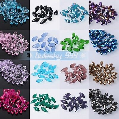 Wholesale 10pcs 8X16mm Faceted Teardrop Glass Crystal Loose Beads Jewelry DIY