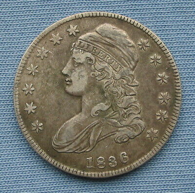 1836 Capped Bust Half Dollar Lettered Edge with XF Details (50C extremely fine)