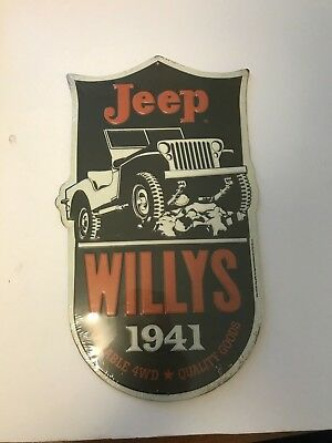 Jeep Willys 1941 Reliable 4Wd Quality Goods Embossed Metal Sign Man Cave
