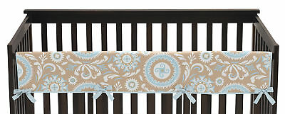 Jojo Hayden Blue Taupe Front Rail Guard Crib Cover Baby Teething Protector Wrap