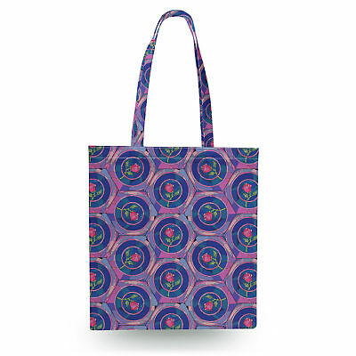 Stained Glass Rose Disney Inspired Canvas Tote Bag - 16x16 inch Book Gym Bag