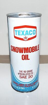 VINTAGE TEXACO SNOWMOBILE OIL CAN SAE 20 1 PINT FULL CAN b