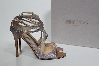 9114076d6046 sz 9   39.5 Jimmy Choo Lang Strappy Light Pink Glitter Ankle Cage Sandals  Shoe