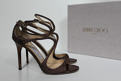 cfd4893a7640 sz 9   39.5 Jimmy Choo Lang Strappy Brown Bronze Glitter Ankle Cage Sandals  Shoe