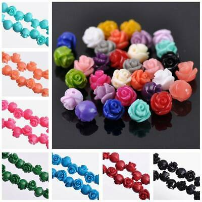 20pcs 8mm Rose Flower Loose Resin Beads lot Jewelry Making Findings 30 Colors