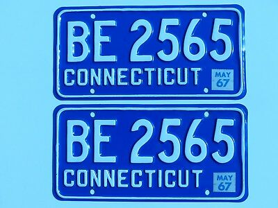 Nice May 1967 Connecticut Car License Plates PAIR # BE 2565   for Your Show Car