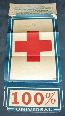 Rare Original Large Ww1 Era 1919 American Red Cross Paper Window Poster Sign