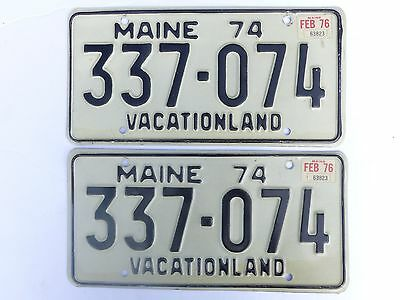 1974 Base 1976 Sticker Maine Car License Plate PAIR #337-074 Vacationland Slogan