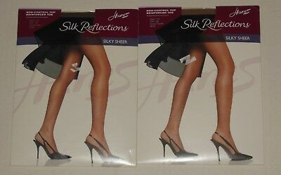 1d977038565 2 Pair Pantyhose Nylons AB Hanes Silk Reflections Silky Sheer Brown   Nude