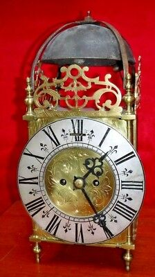 English Fusee Brass Lantern Bell Chime Clock 8 Day Mechanical Working Elliott
