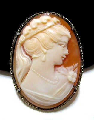 GORGEOUS Antique ART DECO Hand-Carved GENUINE SHELL CAMEO 800 Silver PENDANT PIN