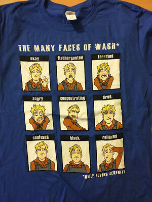 FIREFLY cargo crate QMx exclusive MANY FACES of WASH Serenity SHIRT size LARGE