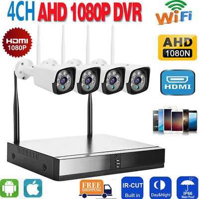 4CH 1080P NVR Video CCTV Security Camera WiFi HDMI Home Outdoor IP System ONVIF