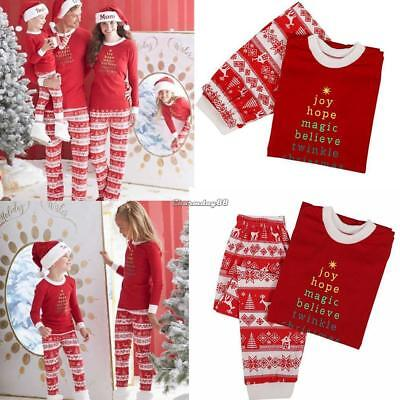 Family Matching Christmas Pajamas Set Long Sleeve Print Sweatshirts Pj C1MY 01
