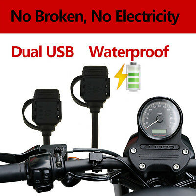 Dual USB Port Motorcycle Charger Socket W/ Switch & Mounts Navigator GPS Charger