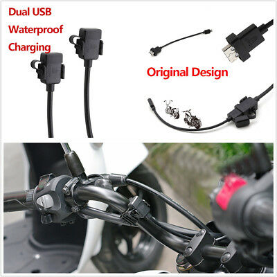 12V Dual USB Motorcycle Handlebar Charger Socket With Switch & Mounts Waterproof