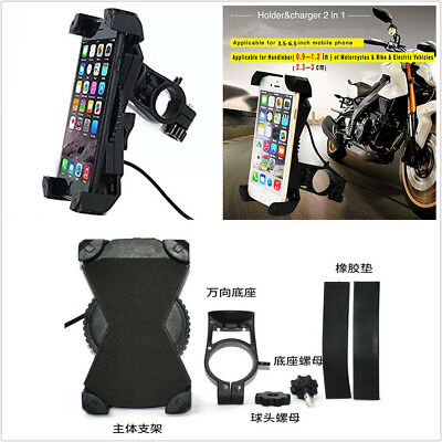 """Motorcycle ABS Phone Mount With 5V 2.4A USB Charging Port 3.5-6.5"""" Cradle Clamp"""