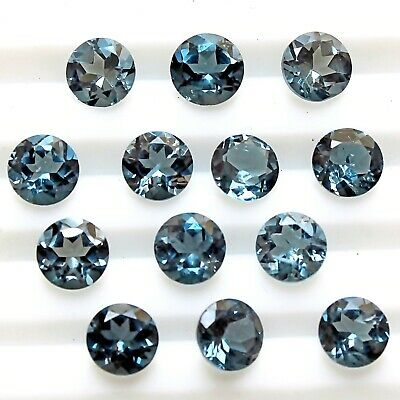 Wholesale Lot of 6mm Round Facet AAA London Blue Topaz Loose Calibrated Gemstone