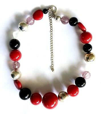 Costume Jewellery Beaded Necklace, Red Black Clear Gold Classic Beads,  Preowned