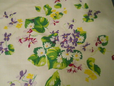Vintage Cotton Sailcloth Floral Table Runner 17 1/2 X 34 Inches