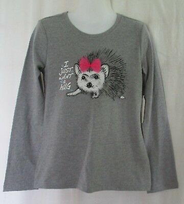 Girls Size XS (4/5) FADED GLORY Gray Long Sleeve I Just Want A Hug T-Shirt NWT