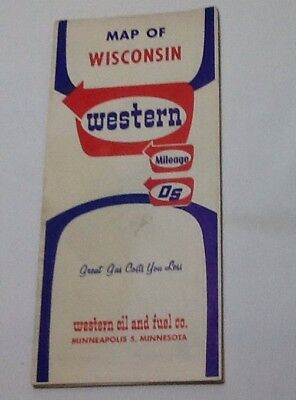 1964 Wisconsin Mileage/DS Western Oil & Fuel Co. Gas Service Road Map