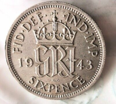 1943 GREAT BRITAIN 6 PENCE - Excellent Silver Coin - FREE SHIP - Britain Bin 2