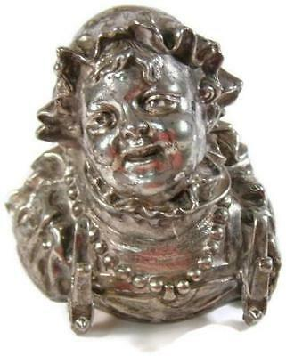 Antique Meriden Silver Plate Figural Inkwell Insert Lady Head & Pearl Necklace