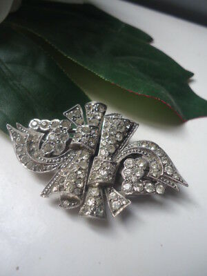 Stunning Solid Silver Vintage 1930-40s Paste Duette Brooch Dress Clips Near Mint