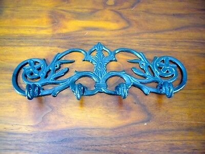 "Vintage Wrought Iron 4 Large HOOK WALL MOUNT HANGER 15"" LONG"