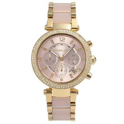 Michael Kors MK6326 39mm Analog Sport Watch Parker Rose Gold Pink Womens Watch