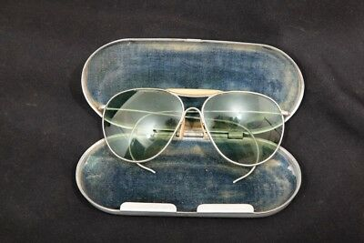 WWII Bausch & Lomb Aviator Pilot's Tint Sunglasses, AN6531 Aviators & Tin Case