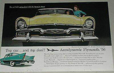 1956 Plymouth advertisement, Plymouth Belvedere, large front grill view photo