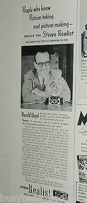 1949 STEREO REALIST Camera advertisement, with old-time actor Harold Lloyd