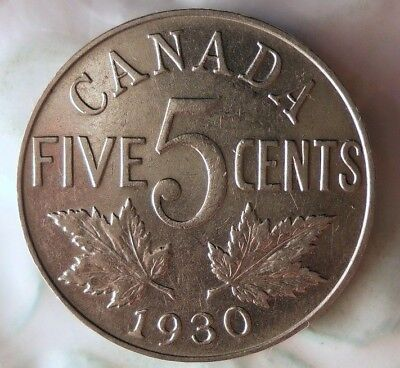 1930 CANADA 5 CENTS - AU - Excellent Coin - FREE SHIPPING - HV39