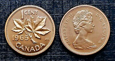 Canada 1965 *Proof Like* Small Cent Brilliant Uncirculated Red!!