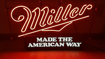 (Vtg) Miller High Life Made The American Way Beer Neon Light Up Sign Rare Style