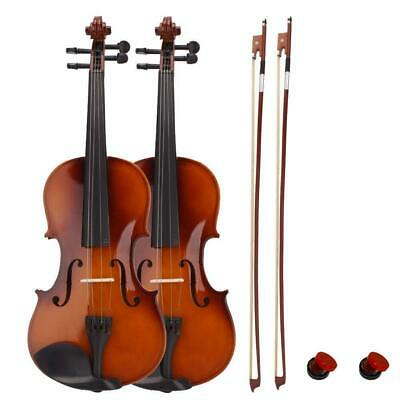 2 x New Acoustic Natural Violin Fiddle Full Size 4/4 + Csae & Bow & Rosin
