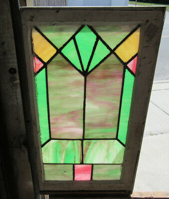 ~ ANTIQUE AMERICAN STAINED GLASS WINDOW ~ 16 x 29 ~ ARCHITECTURAL SALVAGE ~