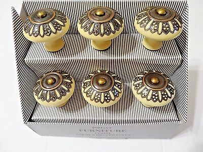 Instant Furniture Update Drawer Pulls Tan Ceramic Brown Metal Vintage Style A