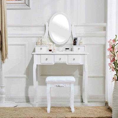 Vanity Set Makeup Dressing Table Jewelry Desk 5 Drawer Mirror &Stool White/Black