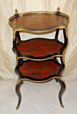 Antique French Napoleon III Marquetry Inlaid Boulle Brass 3 Tier Tiered Table