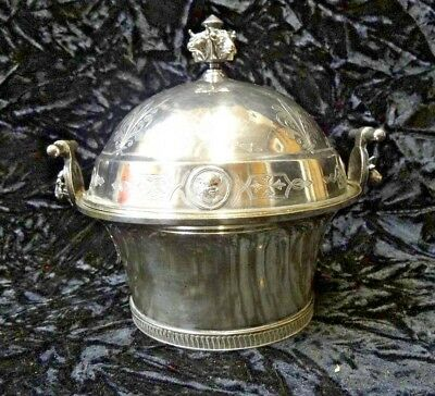 Antique Gorham Silver Plate Medallion Covered Butter Dish Bull Cow Ram Head