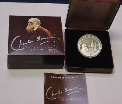 TUVALU 2009 Charles Darwin coloured silver proof coin, no 0926.