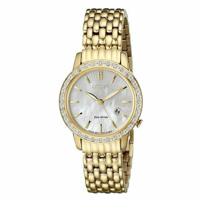 Citizen EW2282-52D Women's Eco-Drive Gold Tone Mother of Pearl Diamond Watch