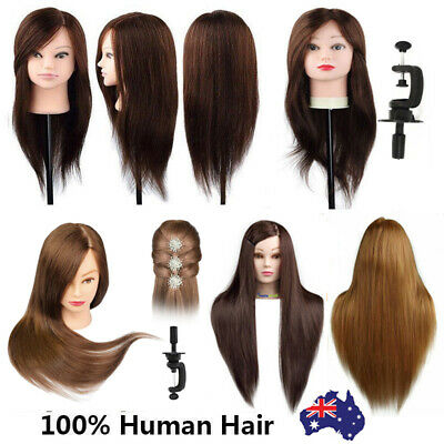 100% Real Human Hair Practice Hairdressing Training Head Mannequin Doll + Clamp