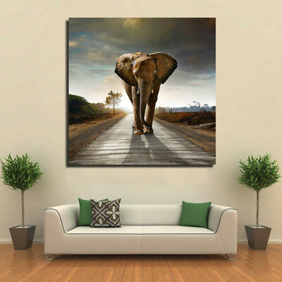 Abstract Unframed Canvas Picture Elephant Old City Wall Art Mural Hanging Decor