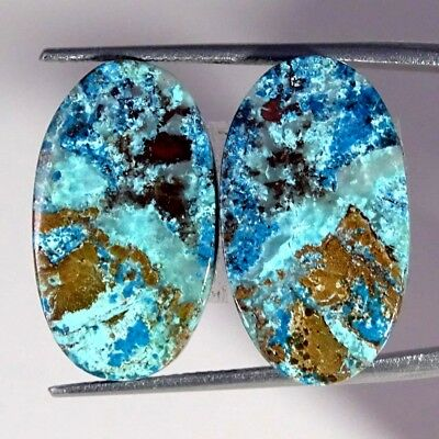 19.60Cts 100% Natural Blue Azurite Oval Pair Cabochon Loose Gemstone