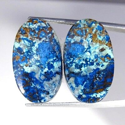 28.10Cts 100% Natural Blue Azurite Oval Pair Cabochon Loose Gemstone